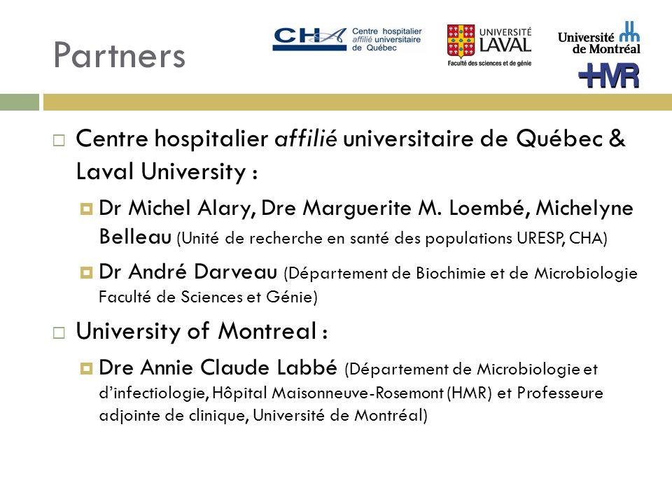 Partners Centre hospitalier affilié universitaire de Québec & Laval University : Dr Michel Alary, Dre Marguerite M. Loembé, Michelyne Belleau (Unité d