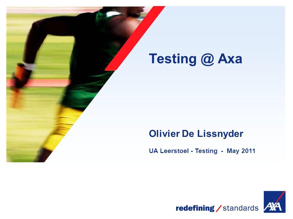 Encombrement maximum du logotype depuis le bord inférieur droit de la page (logo placé à 1/3X du bord; X = logotype) Testing @ Axa UA Leerstoel - Testing - May 2011 Olivier De Lissnyder