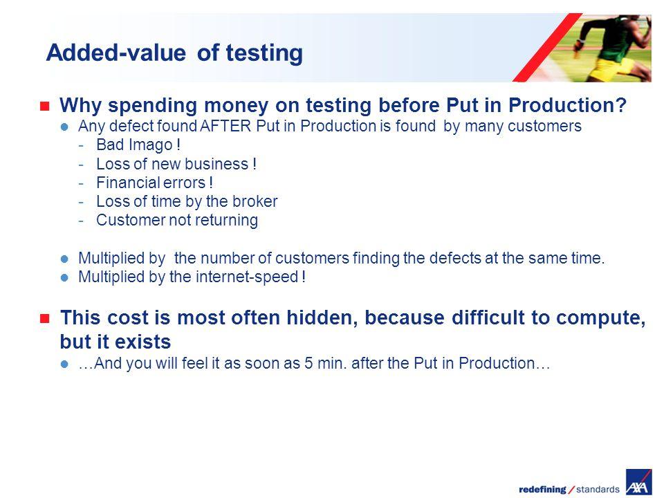 Encombrement maximum du logotype depuis le bord inférieur droit de la page (logo placé à 2/3X du bord; X = logotype) Added-value of testing Why spending money on testing before Put in Production.