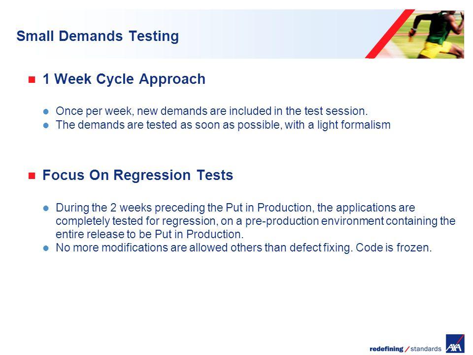 Encombrement maximum du logotype depuis le bord inférieur droit de la page (logo placé à 2/3X du bord; X = logotype) Small Demands Testing 1 Week Cycle Approach Once per week, new demands are included in the test session.
