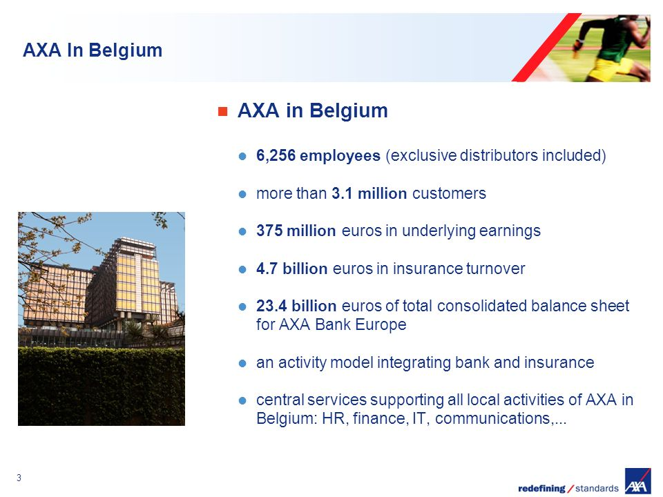 Encombrement maximum du logotype depuis le bord inférieur droit de la page (logo placé à 2/3X du bord; X = logotype) 3 AXA In Belgium AXA in Belgium 6,256 employees (exclusive distributors included) more than 3.1 million customers 375 million euros in underlying earnings 4.7 billion euros in insurance turnover 23.4 billion euros of total consolidated balance sheet for AXA Bank Europe an activity model integrating bank and insurance central services supporting all local activities of AXA in Belgium: HR, finance, IT, communications,...