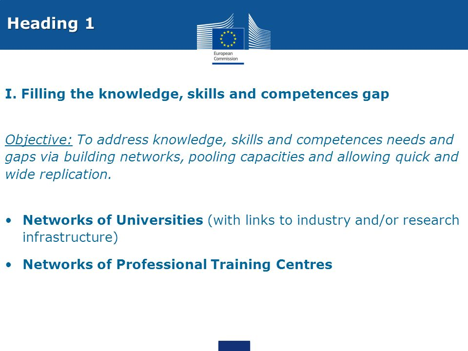 I. Filling the knowledge, skills and competences gap Objective: To address knowledge, skills and competences needs and gaps via building networks, poo