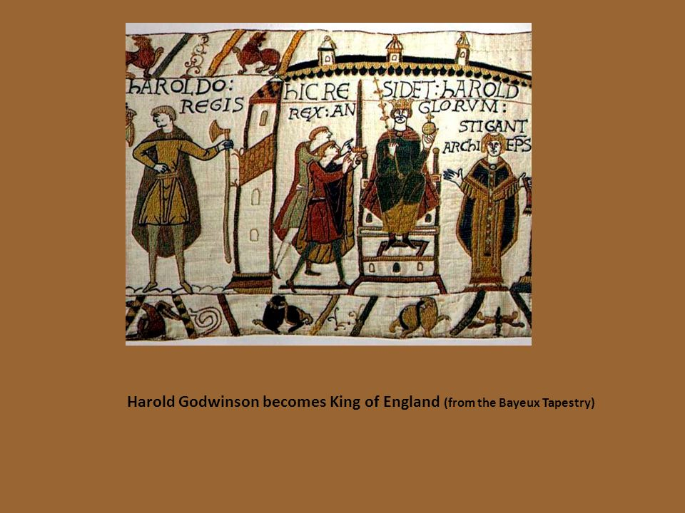 Harold Godwinson becomes King of England (from the Bayeux Tapestry)