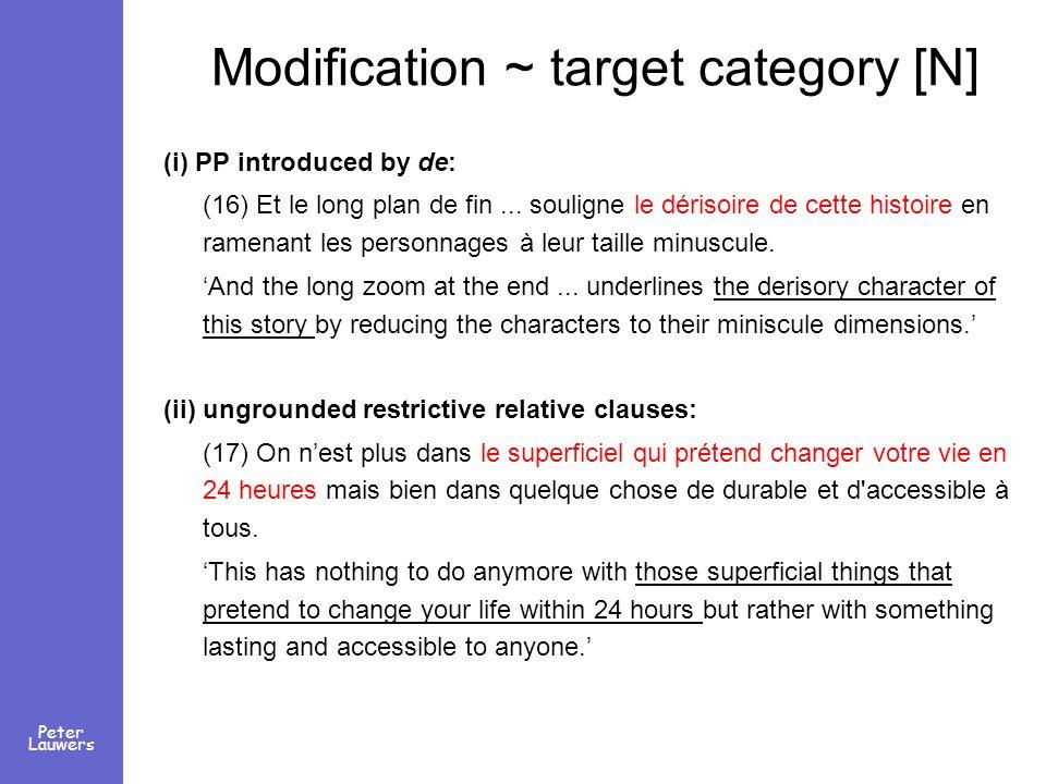 Peter Lauwers Modification ~ target category [N] (i) PP introduced by de: (16) Et le long plan de fin... souligne le dérisoire de cette histoire en ra