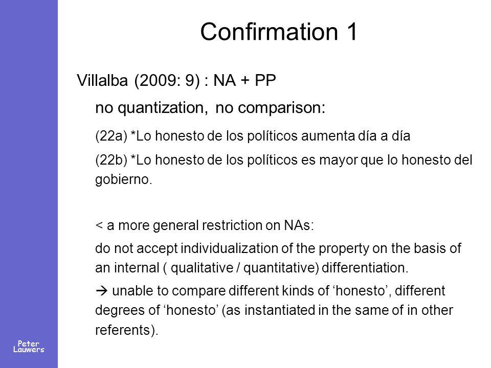 Peter Lauwers Confirmation 1 Villalba (2009: 9) : NA + PP no quantization, no comparison: (22a) *Lo honesto de los políticos aumenta día a día (22b) *