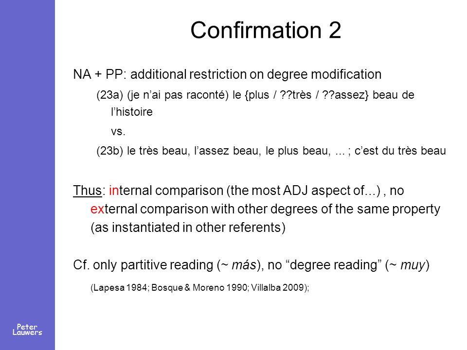 Peter Lauwers Confirmation 2 NA + PP: additional restriction on degree modification (23a) (je nai pas raconté) le {plus / ??très / ??assez} beau de lh