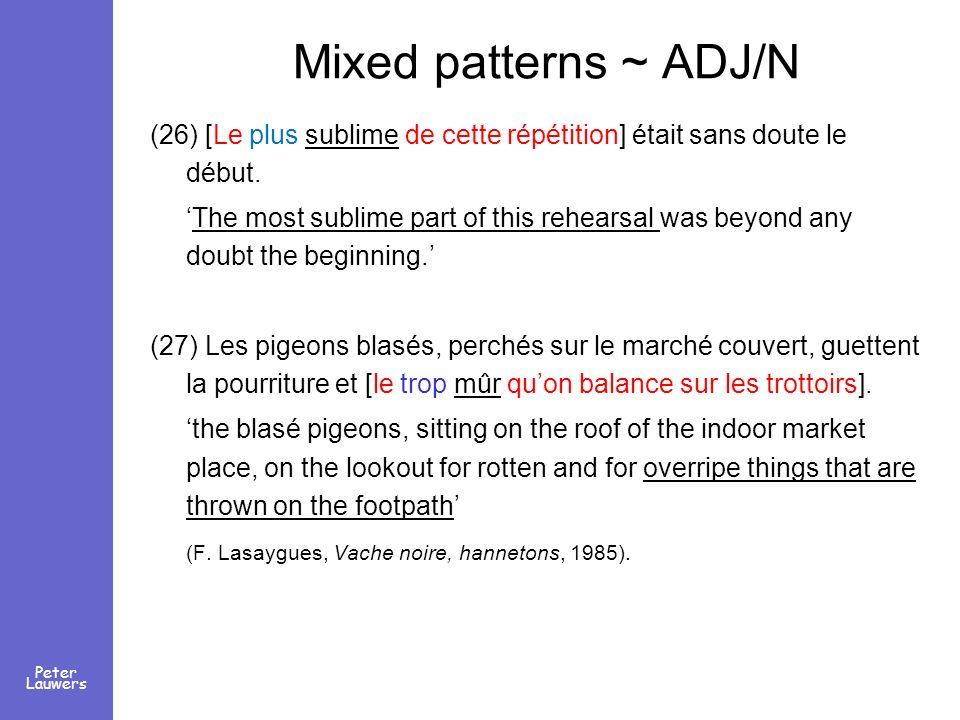 Peter Lauwers Mixed patterns ~ ADJ/N (26) [Le plus sublime de cette répétition] était sans doute le début. The most sublime part of this rehearsal was
