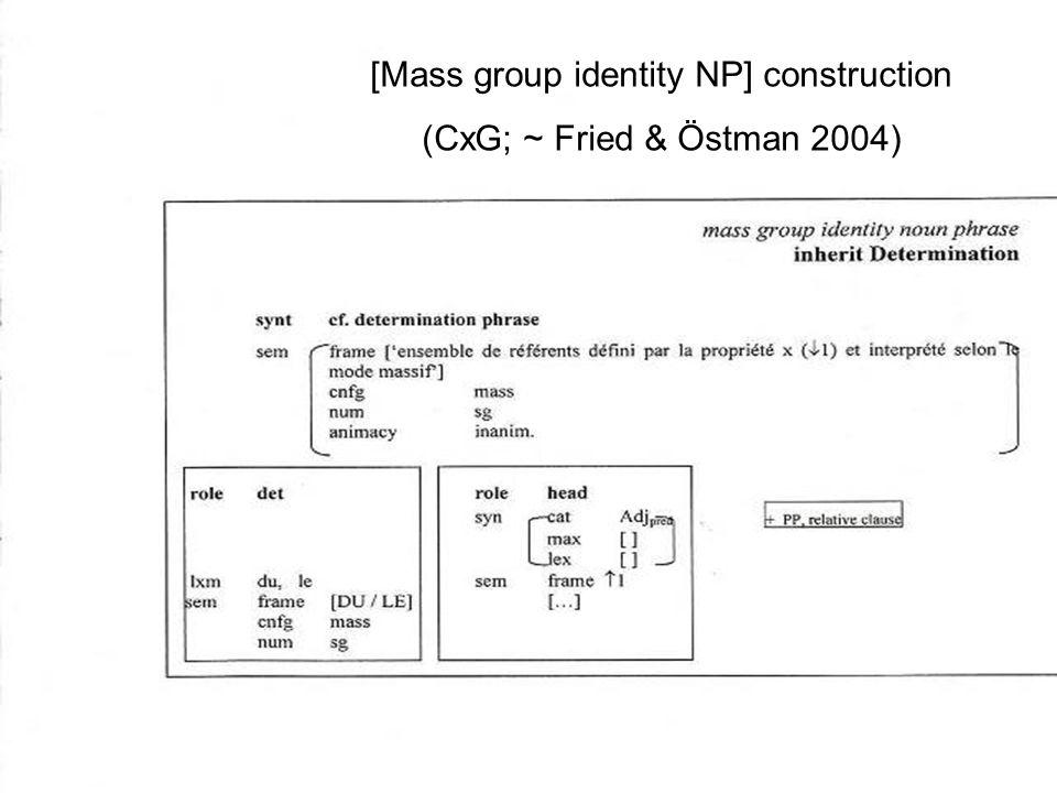 Peter Lauwers Formalisme de C&G [Mass group identity NP] construction (CxG; ~ Fried & Östman 2004)