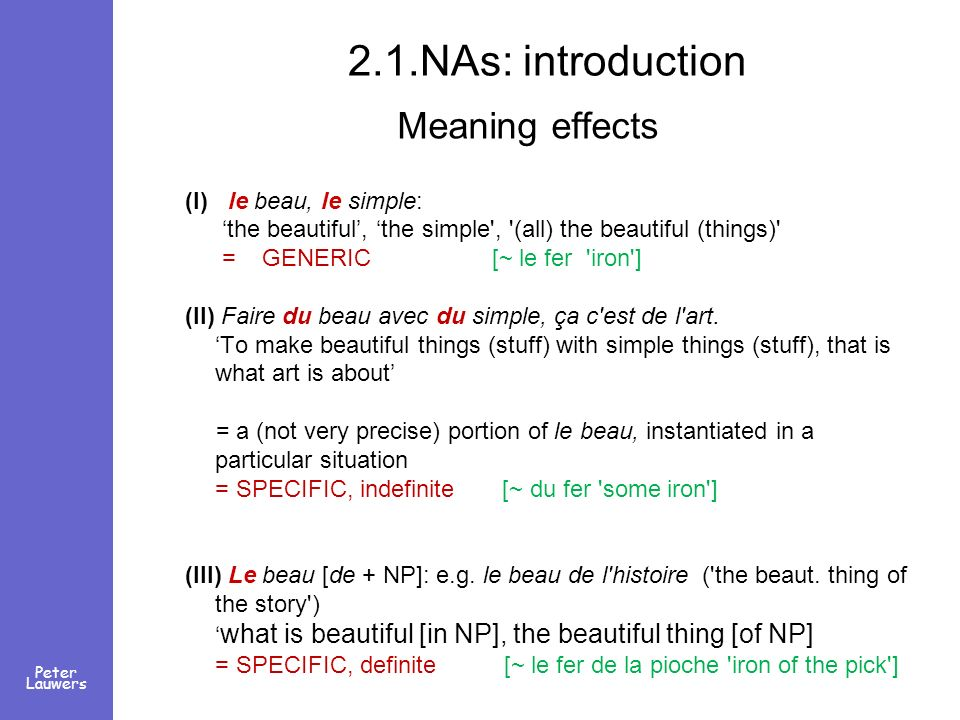 Peter Lauwers 2.1.NAs: introduction Meaning effects (I) le beau, le simple: the beautiful, the simple', '(all) the beautiful (things)' = GENERIC [~ le