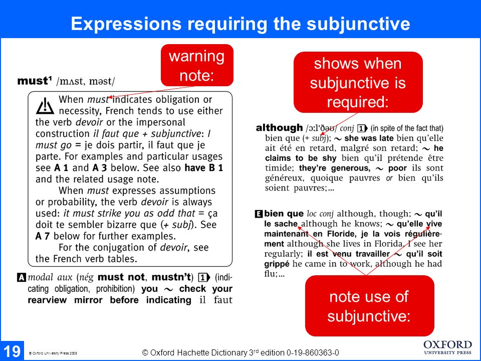 Expressions requiring the subjunctive 19 © Oxford Hachette Dictionary 3 rd edition 0-19-860363-0 © Oxford University Press 2005 warning note: shows when subjunctive is required: note use of subjunctive: