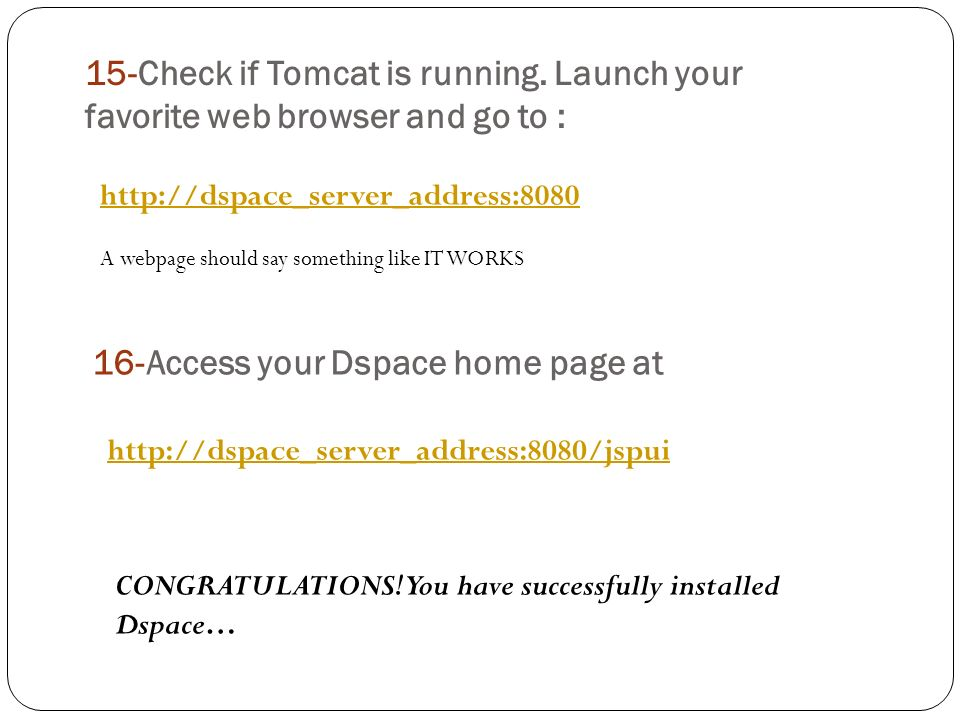 15-Check if Tomcat is running.