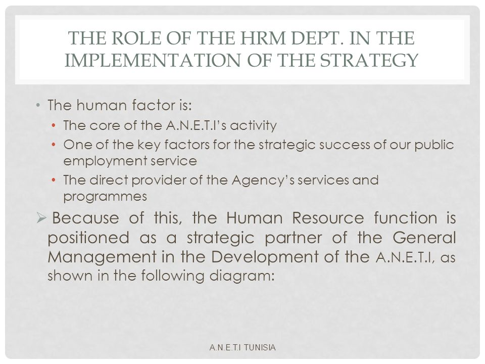 THE ROLE OF THE HRM DEPT. IN THE IMPLEMENTATION OF THE STRATEGY The human factor is: The core of the A.N.E.T.Is activity One of the key factors for th