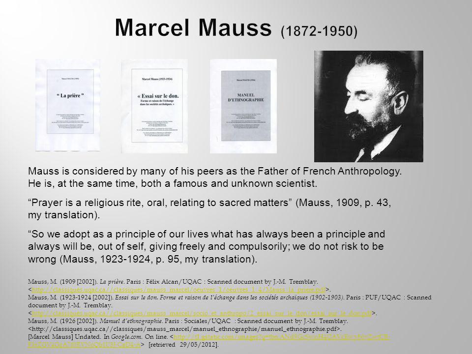 Mauss, M. (1909 [2002]). La prière. Paris : Félix Alcan/UQAC : Scanned document by J.-M.