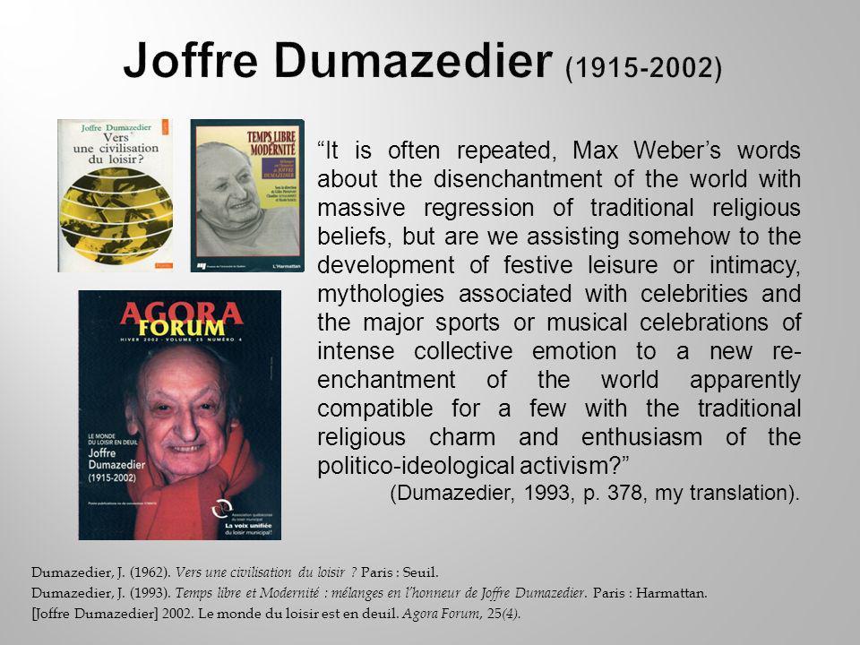 Dumazedier, J. (1962). Vers une civilisation du loisir .