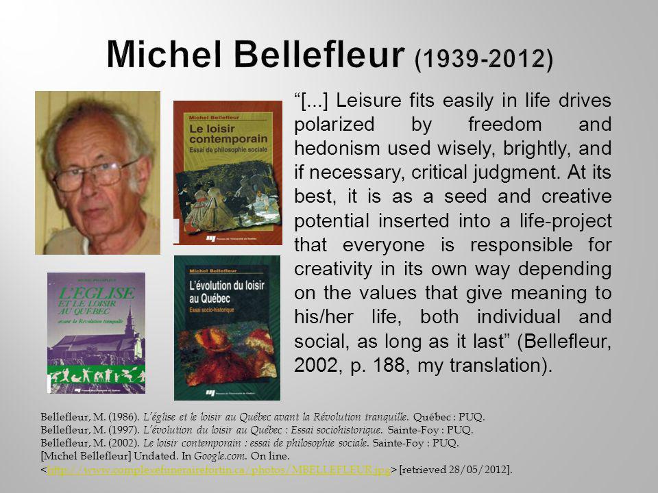 Bellefleur, M. (1986). Léglise et le loisir au Québec avant la Révolution tranquille.