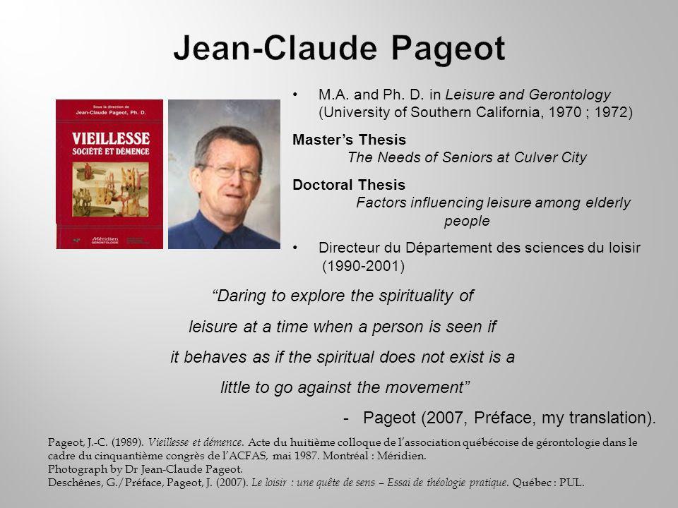 Pageot, J.-C. (1989). Vieillesse et démence.