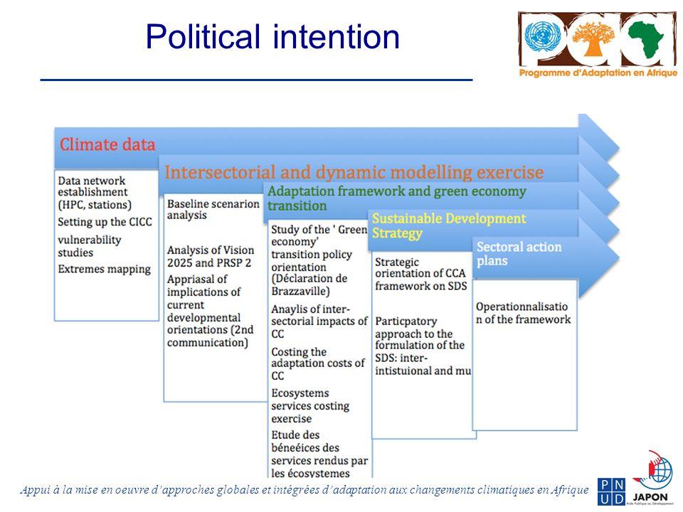 Appui à la mise en oeuvre dapproches globales et intégrées dadaptation aux changements climatiques en Afrique Political intention