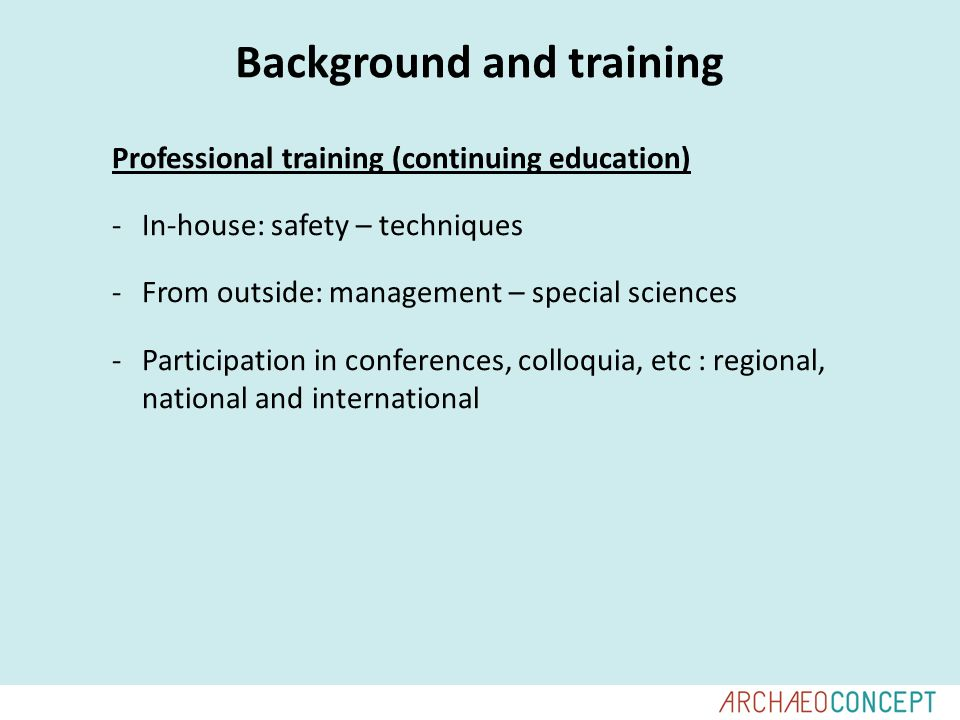 Background and training Professional training (continuing education) -In-house: safety – techniques -From outside: management – special sciences -Participation in conferences, colloquia, etc : regional, national and international