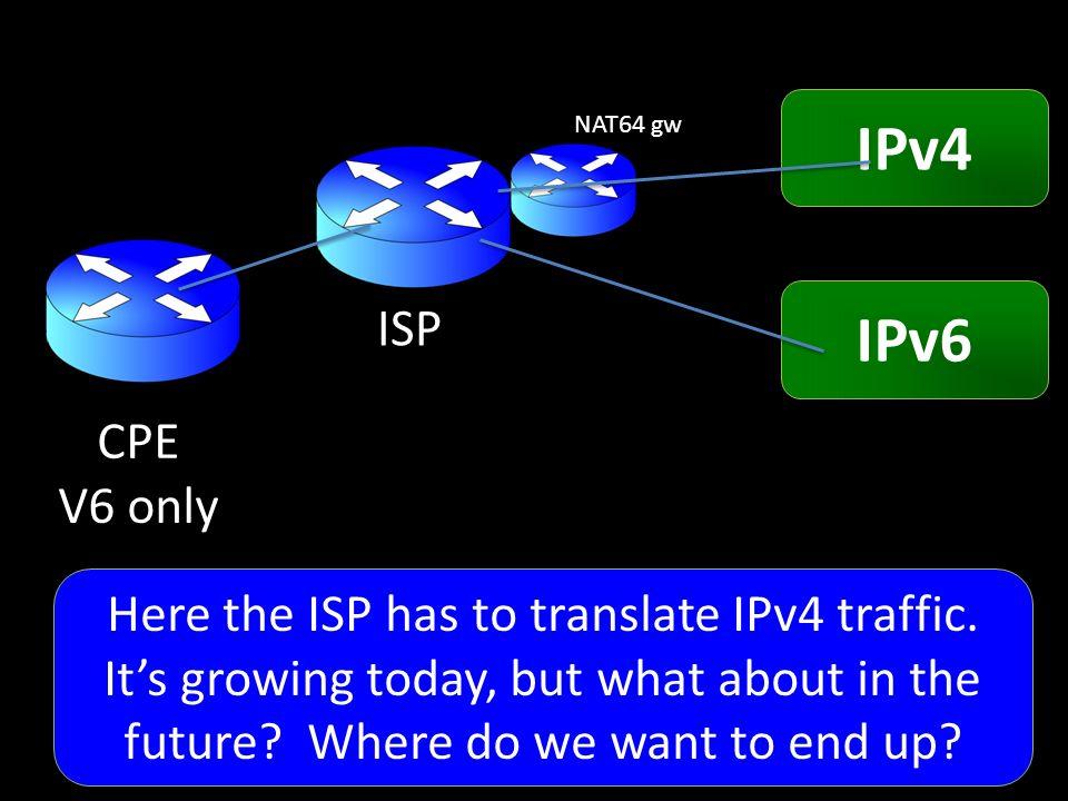 CPE V6 only ISP IPv4 IPv6 NAT64 gw Here the ISP has to translate IPv4 traffic.