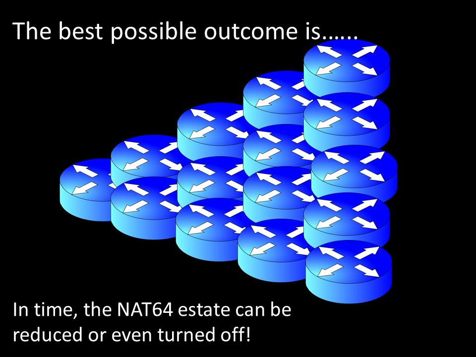The best possible outcome is.….. In time, the NAT64 estate can be reduced or even turned off!