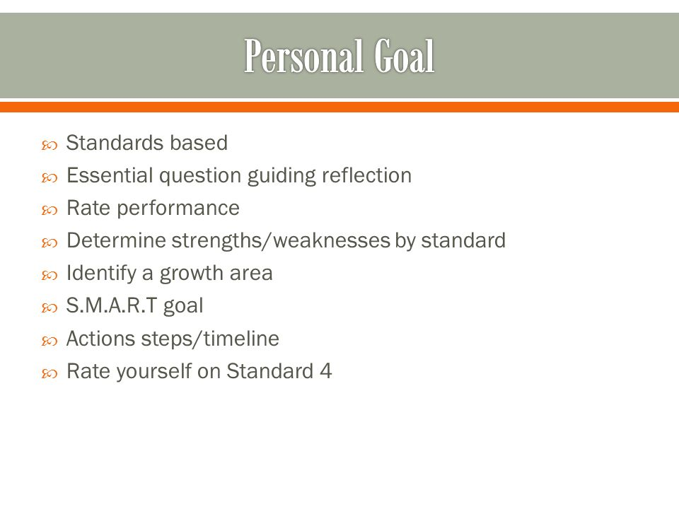 Standards based Essential question guiding reflection Rate performance Determine strengths/weaknesses by standard Identify a growth area S.M.A.R.T goal Actions steps/timeline Rate yourself on Standard 4