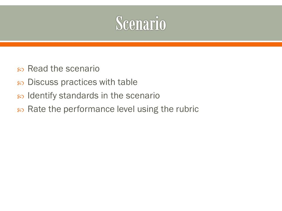 Read the scenario Discuss practices with table Identify standards in the scenario Rate the performance level using the rubric