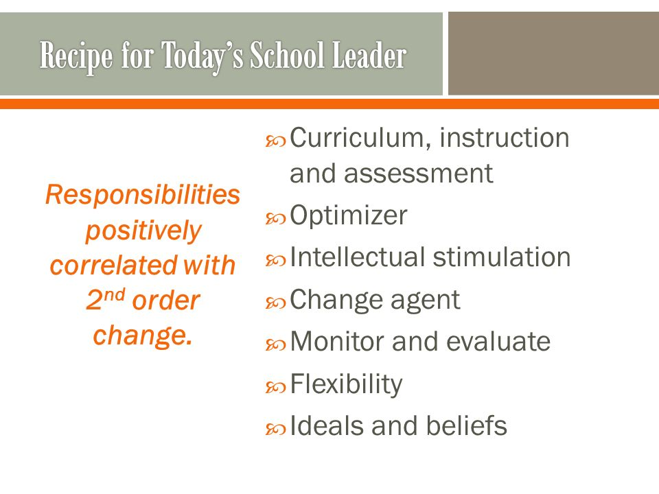 Curriculum, instruction and assessment Optimizer Intellectual stimulation Change agent Monitor and evaluate Flexibility Ideals and beliefs Responsibilities positively correlated with 2 nd order change.