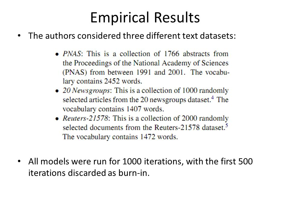 Empirical Results The authors considered three different text datasets: All models were run for 1000 iterations, with the first 500 iterations discard