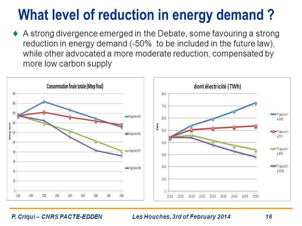 What level of reduction in energy demand ? A strong divergence emerged in the Debate, some favouring a strong reduction in energy demand (-50% to be i