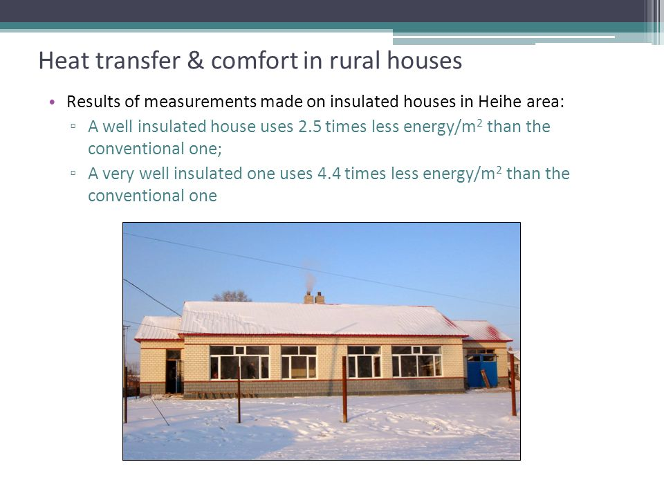 Heat transfer & comfort in rural houses Comparison of heat consumption Results of measurements made on insulated houses in Heihe area: A well insulated house uses 2.5 times less energy/m 2 than the conventional one; A very well insulated one uses 4.4 times less energy/m 2 than the conventional one