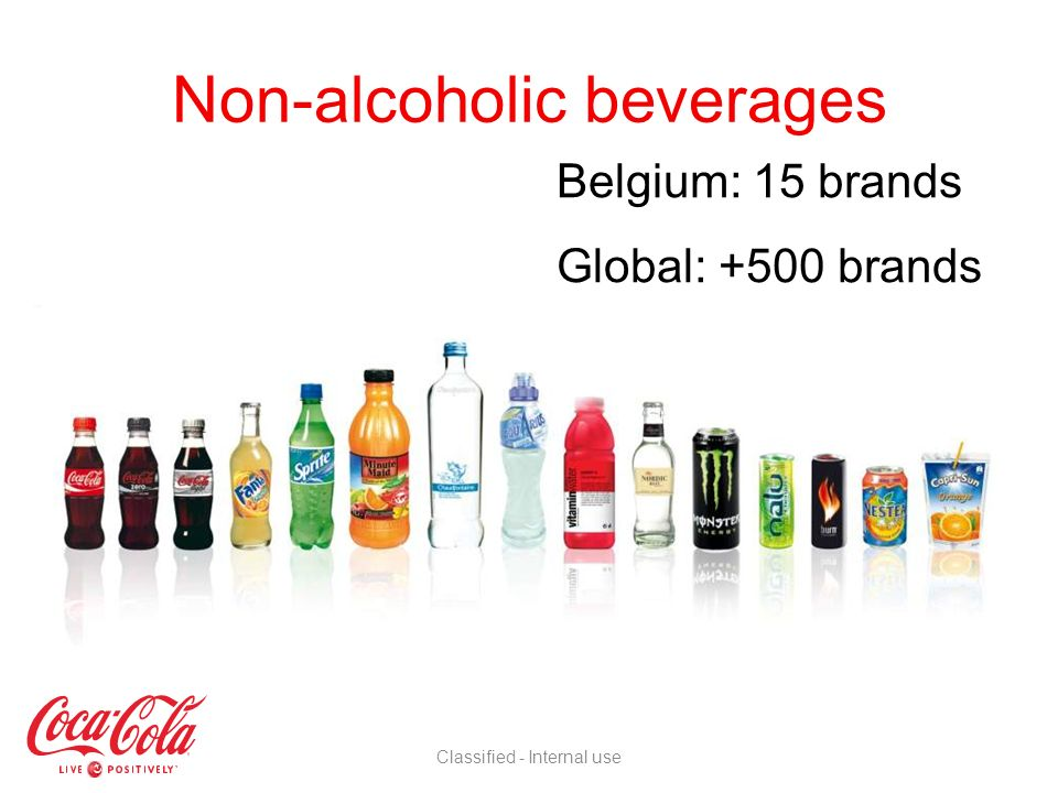 Coca-Cola Services (The Coca-Cola Company) Owner of the brands Responsible for marketing and production and selling of concentrate Coca-Cola Enterprises Belgium and Soutirages Luxembourgeois Most important bottler worldwide of TCCC brands Produces, distributes and sells beverages Coca-Cola = company + bottlers Classified - Internal use