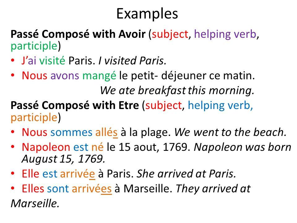 Examples Passé Composé with Avoir (subject, helping verb, participle) Jai visité Paris. I visited Paris. Nous avons mangé le petit- déjeuner ce matin.