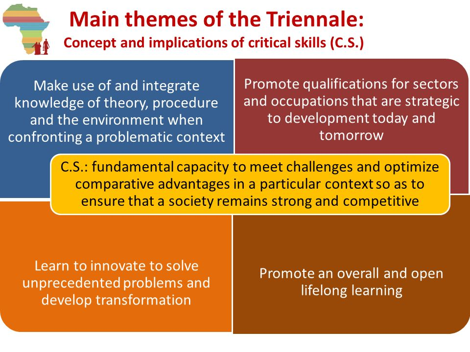 Main themes of the Triennale: Concept and implications of critical skills (C.S.) Make use of and integrate knowledge of theory, procedure and the envi