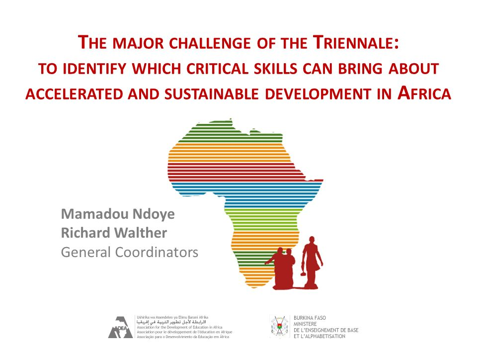 Ouagadougou Triennale 2012 13/02/2012 T HE MAJOR CHALLENGE OF THE T RIENNALE : TO IDENTIFY WHICH CRITICAL SKILLS CAN BRING ABOUT ACCELERATED AND SUSTA