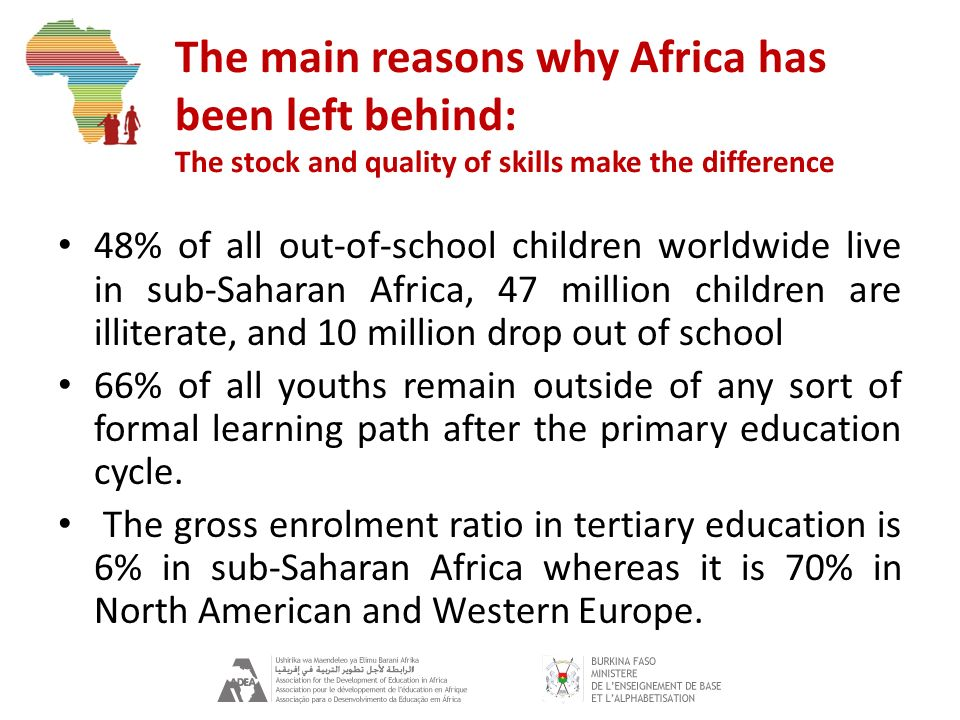 The main reasons why Africa has been left behind: The stock and quality of skills make the difference 48% of all out-of-school children worldwide live