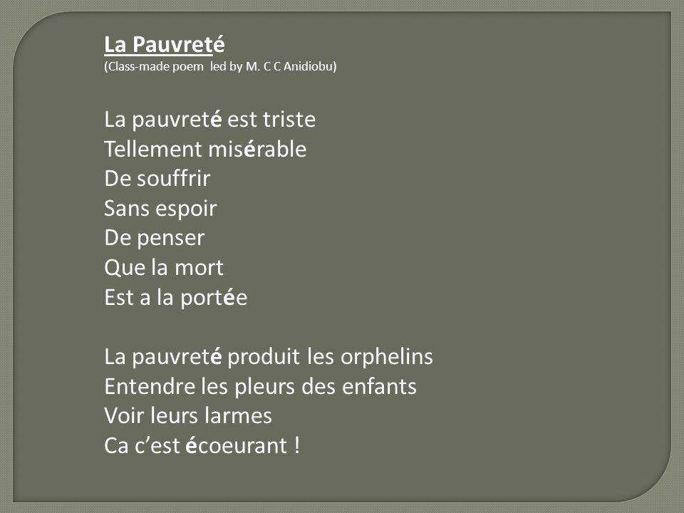 La Pauvreté (Class-made poem led by M.
