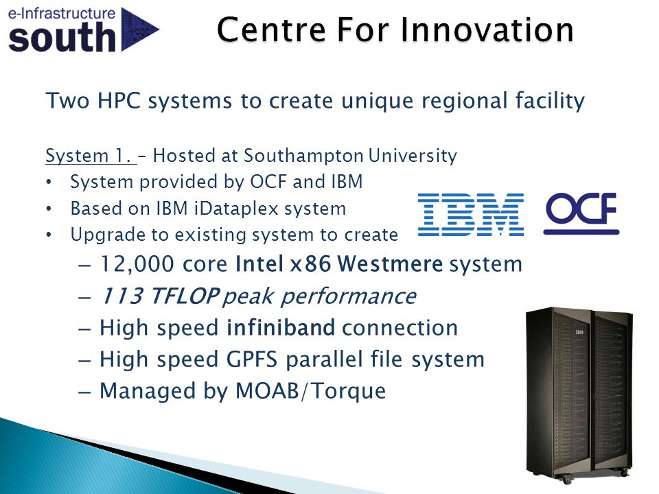 Two HPC systems to create unique regional facility System 1.