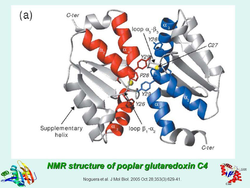 Noguera et al. J Mol Biol. 2005 Oct 28;353(3):629-41. Nter Cter GSH C27 NMR structure of poplar glutaredoxin C4