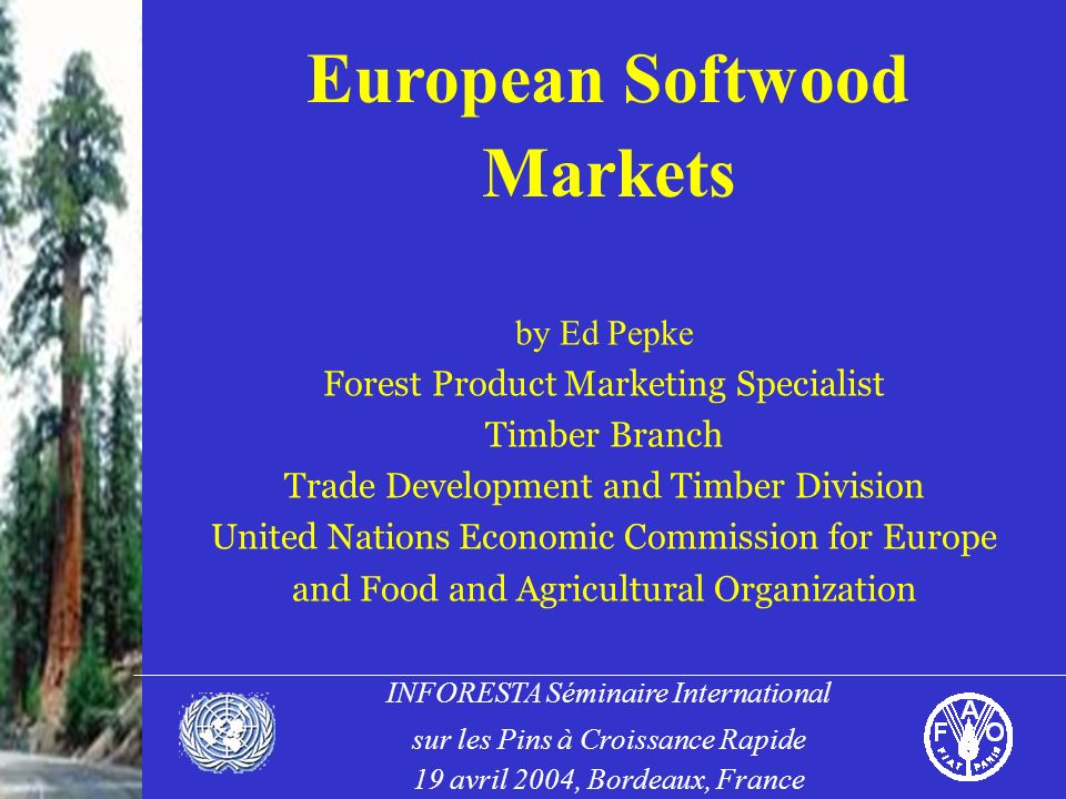 INFORESTA Séminaire International sur les Pins à Croissance Rapide 19 avril 2004, Bordeaux, France European Softwood Markets by Ed Pepke Forest Product Marketing Specialist Timber Branch Trade Development and Timber Division United Nations Economic Commission for Europe and Food and Agricultural Organization