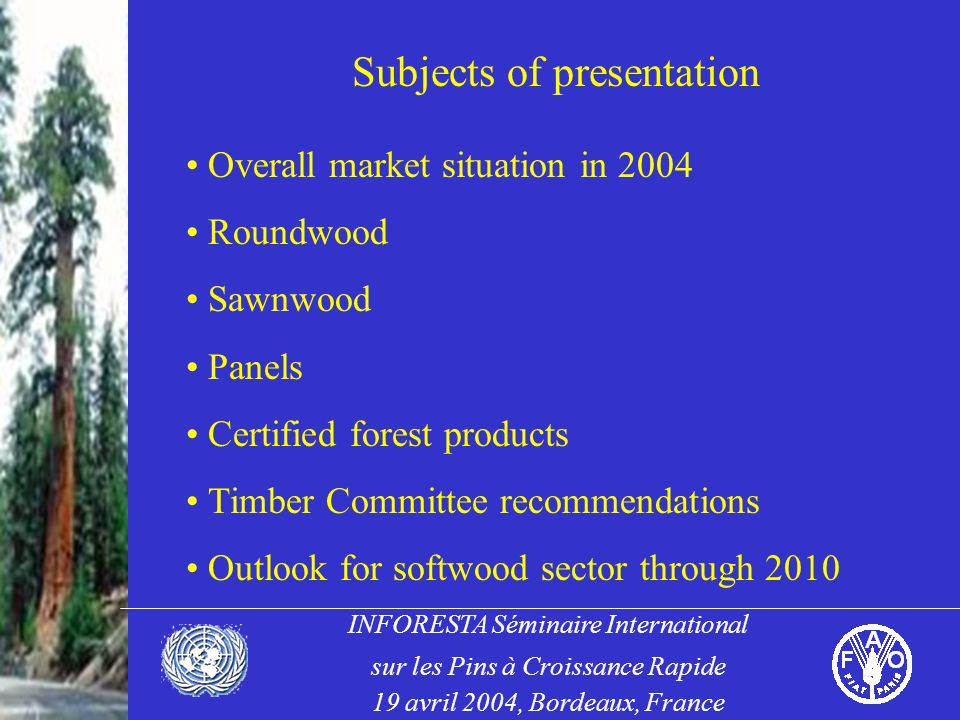 INFORESTA Séminaire International sur les Pins à Croissance Rapide 19 avril 2004, Bordeaux, France Subjects of presentation Overall market situation in 2004 Roundwood Sawnwood Panels Certified forest products Timber Committee recommendations Outlook for softwood sector through 2010