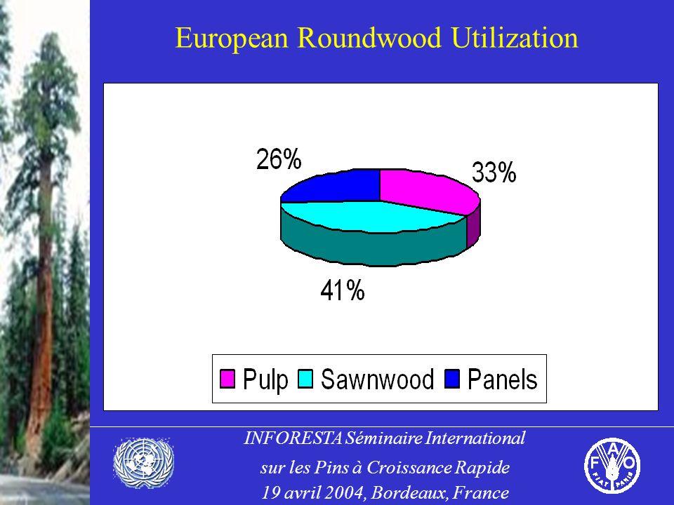 INFORESTA Séminaire International sur les Pins à Croissance Rapide 19 avril 2004, Bordeaux, France European Roundwood Utilization