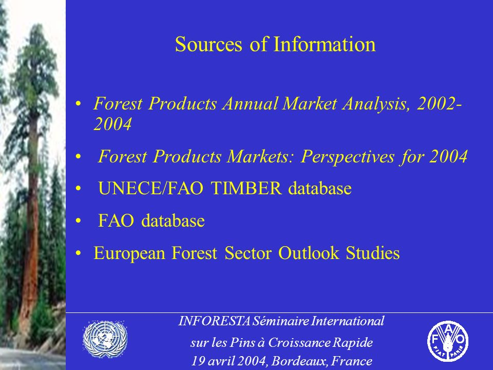INFORESTA Séminaire International sur les Pins à Croissance Rapide 19 avril 2004, Bordeaux, France Sources of Information Forest Products Annual Market Analysis, 2002- 2004 Forest Products Markets: Perspectives for 2004 UNECE/FAO TIMBER database FAO database European Forest Sector Outlook Studies