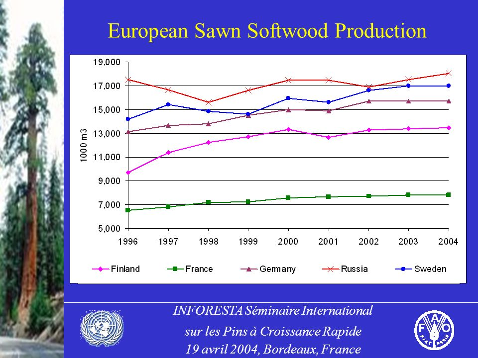 INFORESTA Séminaire International sur les Pins à Croissance Rapide 19 avril 2004, Bordeaux, France European Sawn Softwood Production