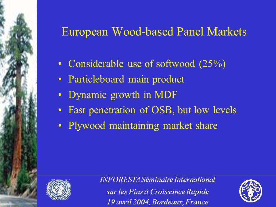 INFORESTA Séminaire International sur les Pins à Croissance Rapide 19 avril 2004, Bordeaux, France European Wood-based Panel Markets Considerable use of softwood (25%) Particleboard main product Dynamic growth in MDF Fast penetration of OSB, but low levels Plywood maintaining market share