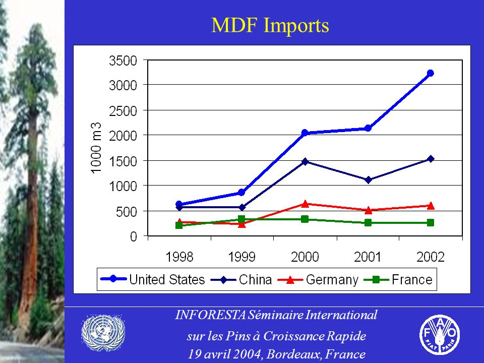 INFORESTA Séminaire International sur les Pins à Croissance Rapide 19 avril 2004, Bordeaux, France MDF Imports