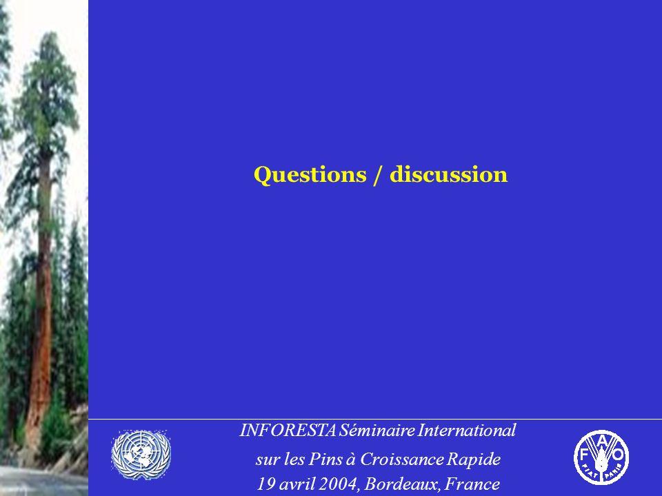 INFORESTA Séminaire International sur les Pins à Croissance Rapide 19 avril 2004, Bordeaux, France Questions / discussion