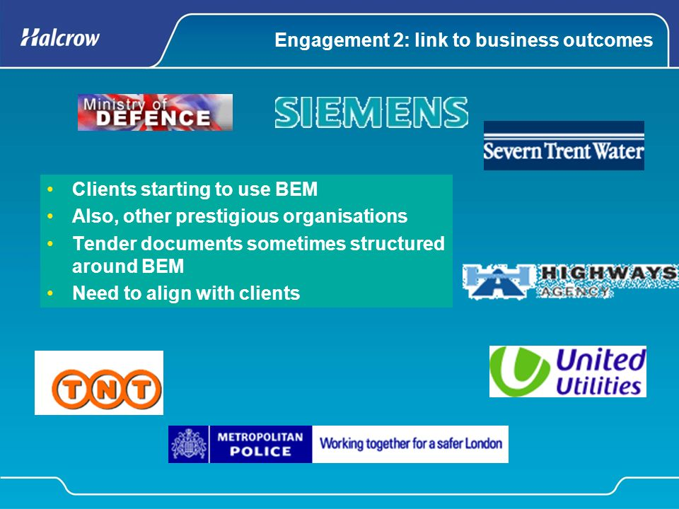 Engagement 2: link to business outcomes Clients starting to use BEM Also, other prestigious organisations Tender documents sometimes structured around BEM Need to align with clients