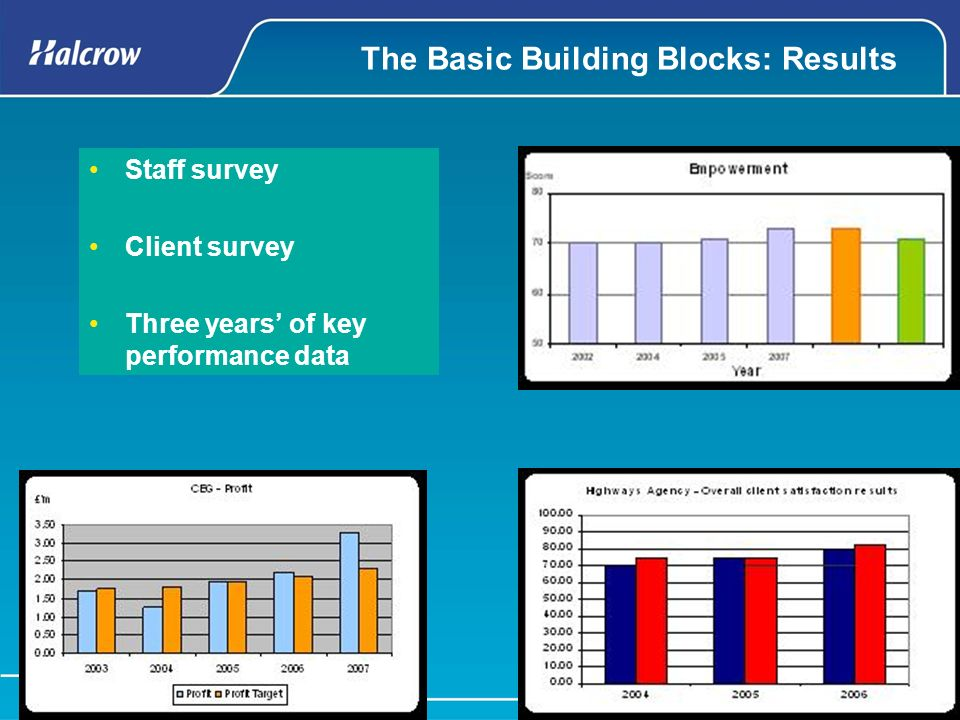 The Basic Building Blocks: Results Staff survey Client survey Three years of key performance data