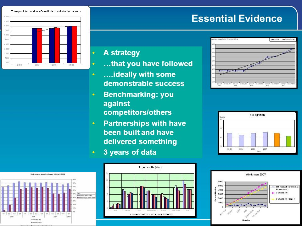 Essential Evidence A strategy …that you have followed ….ideally with some demonstrable success Benchmarking: you against competitors/others Partnerships with have been built and have delivered something 3 years of data