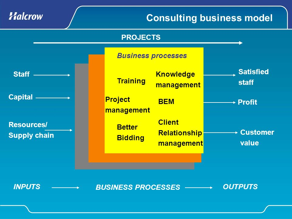 Consulting business model Staff Capital Resources/ Supply chain Satisfied staff Profit Customer value Client Relationship management Better Bidding Project management BEM Knowledge management Training Business processes INPUTSOUTPUTS BUSINESS PROCESSES PROJECTS